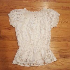 Cream White Lace Top
